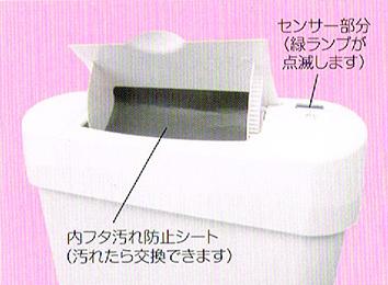 センサー部分(緑ランプが点滅します) 内フタ汚れ防止シート(汚れたら交換できます)