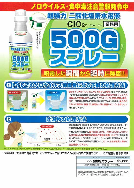 二酸化塩素水溶液500Gスプレー
